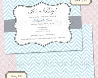Baby Blue Chevron Baby Shower Invitation - Printable Digital File