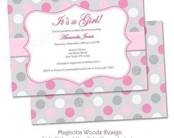 Girls Light Pink and Gray Baby Shower Invitation, Girls Baby Shower Invitation, Pink Gray Baby Shower Invitation - Printable Digital File