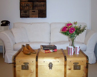 Vintage Steamer Trunk Travel Bentwood Chest Blanket/Toy Box Unique COFFEE TABLE TAUNTON