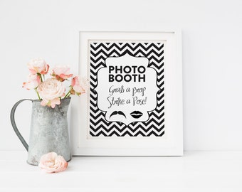 INSTANT DOWNLOAD - Chevron Photo Booth Sign DIY Wedding Poster Printable... Black
