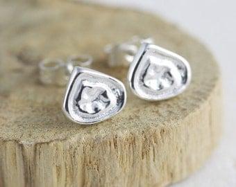 Handmade Silver Earrings - Handmade Silver Jewelry - Silver Stud Earrings - Handmade Silver Studs - Silver Droplet Studs E140-SS