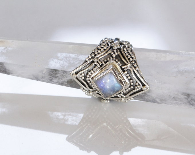 Rainbow Moonstone Sterling Silver Ring, Boho Rings, Bohemian Jewelry, Moonstone Ring, Diamond Cut Ring, Personalised, Don Biu, Jewellery