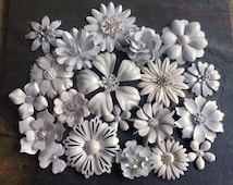 Cream and White Enamel Flower Brooch Lot 20 White Ivory Silver Metal Flower Broaches White Silver Ivory Enamel Pins White Brooch Bouquet Lot