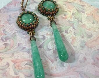 Long drop earrings-Beautiful Vintage stones and drop in green matrix glass-unique-elegant-Art Nouveau-Art Deco style-Roaring 20's style