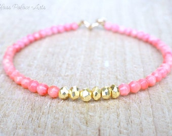 Pink Coral Bracelet, Pink Coral Jewelry, Gold Delicate Bracelet, Pink Coral Bridesmaid Jewelry, Simple Dainty Layering Bracelet Gift For Her