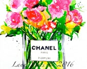 Chanel Still Life Art Print - Bouquet of Spring Flowers Watercolor Painting - Fashion Illustration by Lana Moes