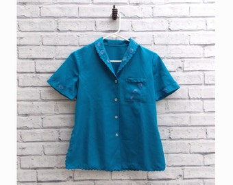 Women's Vintage Blue Blouse Scalloped Shirt Floral Embroidered