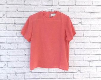 The Little Pink Blouse | Vintage Coral Shirt w/ Scalloped Hem