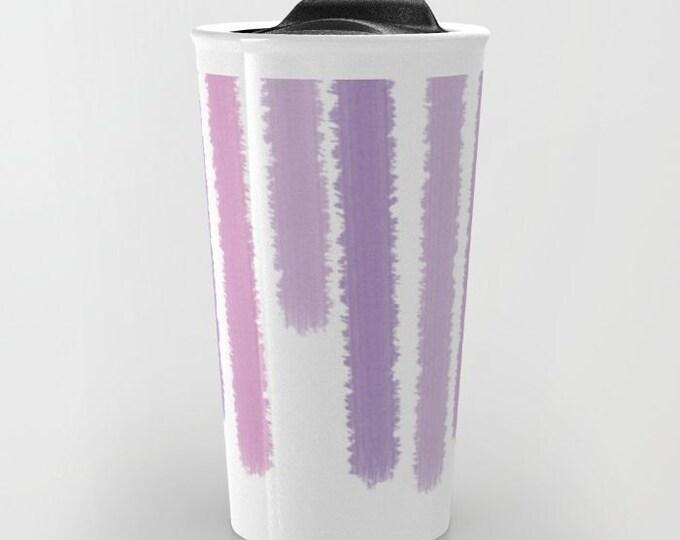 Purple Striped Travel Mug Ceramic - Coffee Travel Mug - Hot or Cold Travel Mug - 12oz Travel Mug -Made to Order