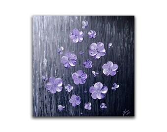 Original fine art, impasto painting, contemporary art, abstract flower painting, textured wall art