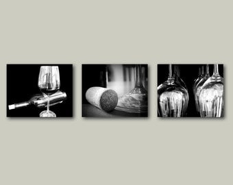 Wine Photography Print Set Kitchen Dining Art Decor Winery Set of 3 Wine Cork Wine Glasses California Black and White Wine Bar Wine Country