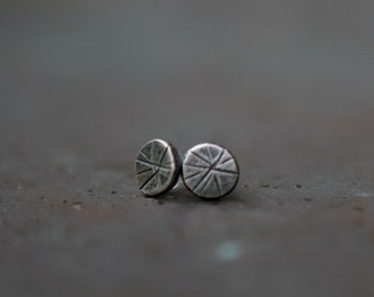 Star Burst Studs in Sterling Silver - Tiny Post Earrings - Modern Minimalist Earrings - Eco-Friendly Jewelry - Oxidized Recycled Silver