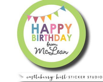 Personalized birthday sticker, custom gift tag, personalised sticker, party favor sticker, party favor label, labels for goody bag sticker