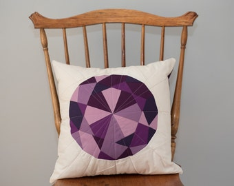 Purple Throw Pillow - Amethyst Jewel, Quilted Gem - Pillow Cover