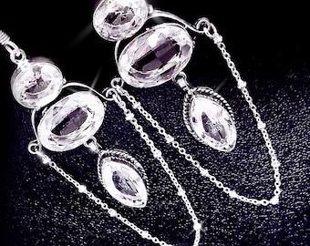 White topaz earrings, bohemian earrings, gemstone earrings, sterling silver earrings, large topaz earrings, boho jewelry, bohemian style