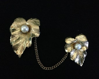 Vintage 1959 Double Leaf w Faux Pearls Brooch/Sweater Chain Pins by Sarah Coventry (Tier 1)