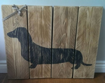 Dachshund Wooden Wall Art - Sausage Dog - Silhouette