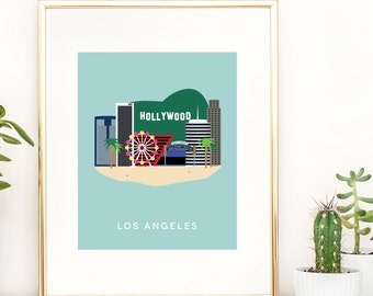 Los Angeles City Print, West Coast City Print, California Wall Art, LA Wall Art, LA City Print, Instant Download, For the Home, Gift For Her