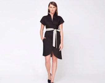 Kimono Dress, Japanese Clothing, Black Kimono Dress, Short Black Dress, Collar Dress, Belted Dress, Casual Dress, Short Sleeve Dress
