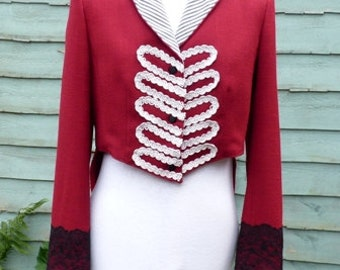 Womens size UK  12 , US 8, Upcycled Red Ringmaster tailcoat jacket  ,circus , steampunk ,festival