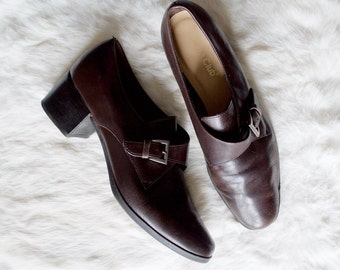 music major buckled loafer / 90s leather loafer / loafer 8.5 - 39 / minimalist / chunky heel / block heel loafer / chocolate leather loafer