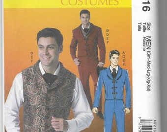 M7216 McCall's Men's Steampunk Costume Sewing Pattern Sizes 34-52 Makes Jackets, Vests, Pants, and Tie