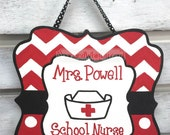 School Nurse Sign Chevron Monogram Door Hanger Sign:  Teacher gift, end of year teacher present, classroom decor, wooden door hanger