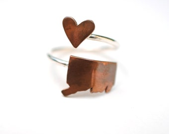 Connecticut State Twist Ring (Sterling Silver & Copper Place State Love Map Ring)