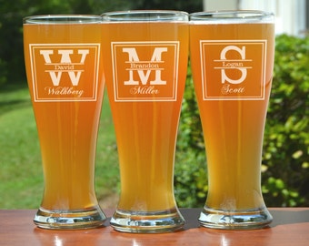 Groomsmen Gift, 7 Personalized Beer Glasses, Custom Engraved Pilsner Glass, Wedding Party Gifts, Gifts for Groomsmen, 16oz Glasses