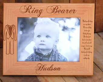 3 Personalized Frames - Ring Bearer Gift, Custom Engraved Picture Frames - Ring Bearer Tuxedo, Flower Girl Dress