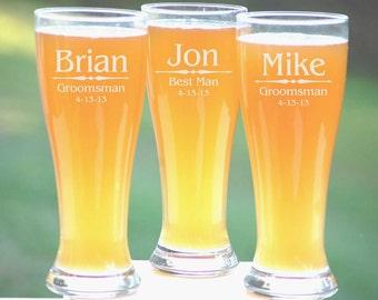 Personalized Groomsmen Gifts, Beer Glasses, Wedding Toasting Glasses, Pint Glasses, 8 Custom Beer Mugs, Gifts for Groomsmen, 16oz Glassware