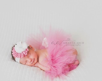 Newborn tutu, dusty rose tutu, tutu and headband set