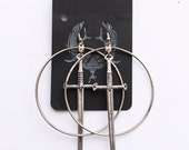 Hand Fabricated Hoop Drop Sword Earrings, Sword Earrings, Silver Hoop Handmade Earrings, Cross dagger Hoop Earrings, Large Hoop