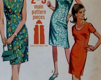 Vintage 1960s Simplicity Jiffy 7010 Misses Retro Modern Style Sheath Shift Dress Pattern Size 14 Epsteam