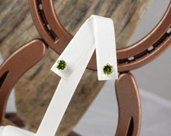 Sterling Silver Post Earrings - Natural Green Perdot Stud Earrings -  6mm Natural Green Peridot Rounds on Sterling Silver Posts