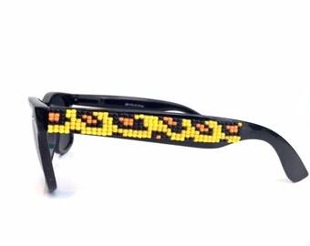 Polarized Beaded Cheetah Print Sunglasses, Beaded Sunglasses, Hand Beaded, Seed Beads, Wayfarer Sunglasses, Ray Ban Style, Animal Print