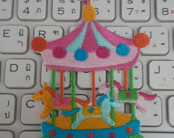 Merry Go Round Iron on Patch - Carousel Applique Embroidered Iron on Patch