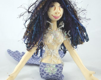 Art Doll-Aunda the Mermaid OOAK Cloth Doll