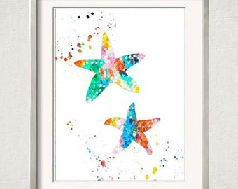 Starfish Watercolor Print, Beach Nursery Wall Art, Beach Gallery Wall, Tropical Decor, Starfish Illustration, Modern Wall Art, Nautical Art