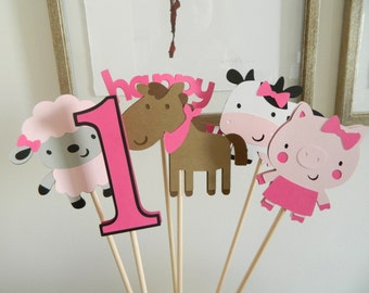 Girl Farm Animal Barnyard Centerpiece Sticks Barnyard Birthday Centerpiece Barnyard Table Decorations Barnyard First Birthday • Set of 6