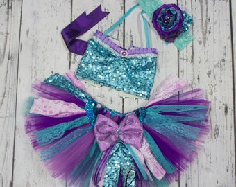 Mermaid Princess tutu top set, aqua purple tutus cake smash tutu outfit 1st birthday tutu dress, mermaid party outfit, top only or tutu set