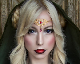 Golden circlet / tiara with red gem and red pendant - Fire sorceress elf - elven