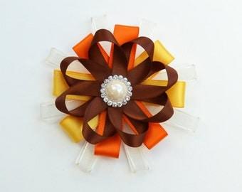 fall hair clip, fall hair bow, autumn hair clip, autumn hair bow, flower hair bow, flower hair clip, girl hair clip, orange hair bow, bows