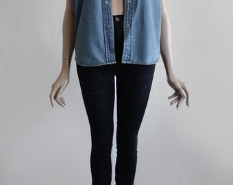 90s Vintage Denim Blue Relaxed Sleeveless Jean Blouse