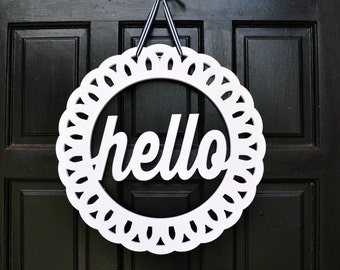 """Hello Wreath // Hello Door Hanger // Front Door Decor // Hello Sign // Hello Decor // Medium Hello Wreath - 18"""""""