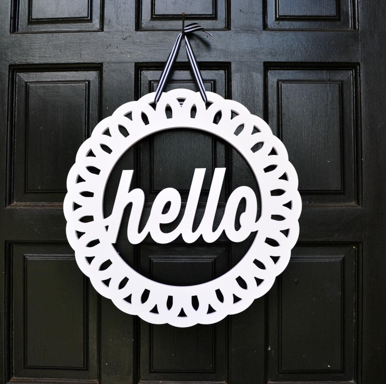 Hello Wreath Hello Door Hanger Front Door Decor Hello