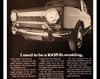 1968 Chrysler Simca Ad - Wall Art - 4 Door - Sedan - Garage - Home Decor - Retro Vintage Car & Auto Advertising