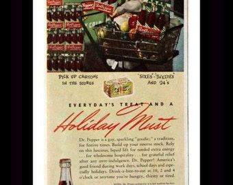 1947 Dr. Pepper Ad - Wall Art  - Home Decor - Soda - Color - Soft Drink - Pop - Retro Vintage Food & Drink Advertising