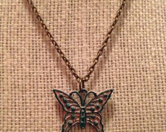 """16"""" Pink&Green Butterfly Necklace"""