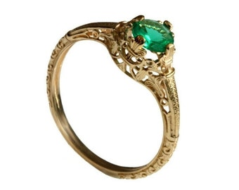14K Vintage solitaire Emerald Engagement ring 18k yellow gold natural Emerald filigree engagement ring, promise ring, May birthstone ring